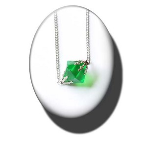 "Lana's green ""K"" necklace"
